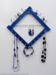 Schmuckmöbel - Quadratini blau Kleine Lösung für Ketten und Ringe