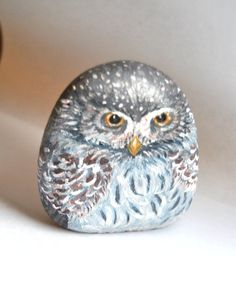 Hand Painted Stone Winter Barn Owl  River rock Art by LadyBugCo, $25.00