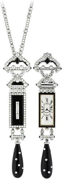 Cartier Art Deco Watch Pendant. Yellow gold, platinum, enamel, onyx, diamonds