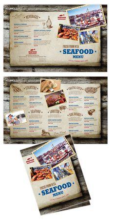 Seafood Restaurant Bi-fold menu template #menu