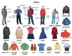 Clothes, #Vocabulary #English Mais - apparel and clothing, discount clothes online, fashion clothing stores *ad