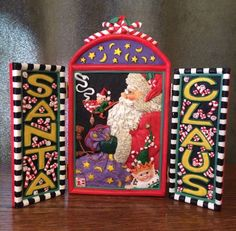 "Mary Engelbreit Me Resin 3D Christmas Santa Claus Folding Plaque Stand 7"" Tall 