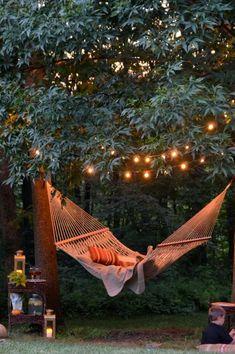 16 super Ideas for backyard hammock pergola dreams Backyard Party Lighting, Backyard String Lights, Outdoor Lighting, Outdoor Decor, Lighting Ideas, String Lighting, Pergola Lighting, Outdoor Spaces, Backyard Hammock