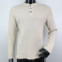 269e1a067e Details about Eddie Bauer Mens Small Tan 100% Cotton Long Sleeve Henley  Sweater NWOT