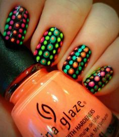 Polka dot nails, neon nails, diy nails, love nails, how to do nails Polka Dot Nails, Neon Nails, Love Nails, Diy Nails, How To Do Nails, Pretty Nails, Polka Dots, Nail Polish Designs, Nail Art Designs