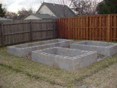Cinder block garden, two runs high. Would look really nice if you framed it in with 2x6's
