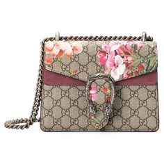 Women's Gucci Mini Dionysus Gg Blooms Canvas & Suede Shoulder Bag (102.285 RUB) ❤ liked on Polyvore featuring bags, handbags, shoulder bags, mini handbags, canvas purse, brown shoulder bag, mini purse and floral purse
