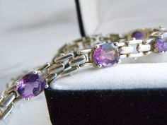 Early Vera Wang STERLING Silver BiColor Purple Ametrine Panther Link Bracelet #VeraWang #Tennis