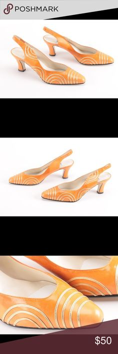 BRAND NEW made in Spain orange leather heels Brand new, never worn, sorry no box. Minor discoloration as shown in the pictures. About 2-3 inch heels. Made in Spain (printed on soles) with soft orange leather. Looks super cute with jeans or a LBD or a LWD just in time for summer! Open to reasonable offer or bundle 2 for 15% off! details Shoes Heels