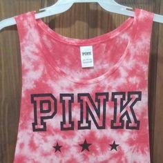 Vs pink tie dye tank Good condition,runs big. PINK Victoria's Secret Tops Tank Tops
