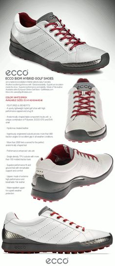 Your new ultra comfortable BIOM Yak Hybrid Golf Shoes by ECCO® in color White/Brick 2012. Available sizes: EU 40/41/42/43/44/45/46/47 at the European Online Golf Store - GolfMetals.com