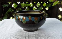 Your place to buy and sell all things handmade Indoor Planters, Planter Pots, Front Windows, Dark Brown Color, Vintage Ceramic, Green Leaves, Etsy Vintage, 1930s, Pottery