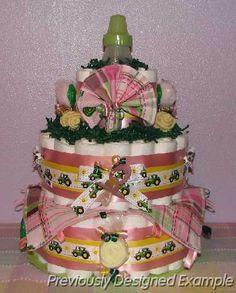 John-Deere-Diaper-Cake1.JPG - Baby Girl John Deere Diaper Cake