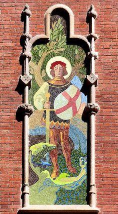 St. Antoni Maria Claret 167 detall del Hospital de la Santa Creu i Sant Pau  Architect: Lluís Domènech i Montaner.  Barcelona  Catalonia