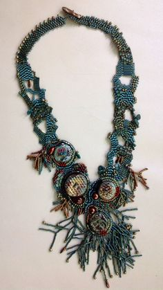 Rhapsody in Blue2....beaded free form necklace in teal by JudesArt