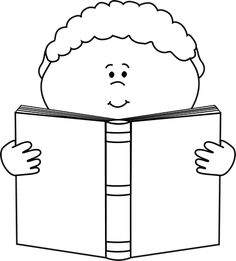 Black and White Little Boy Reading a Book Clip Art - Black and White Little Boy Reading a Book Image
