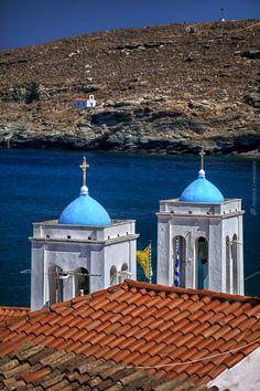 Crosses of a Greek Orthodox Church Andros Island, Greece Mykonos, Santorini, Paros, Beautiful Places In The World, Beautiful Beaches, Andros Greece, Greece Islands, Southern Europe, Medieval Town