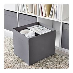 IKEA - DRÖNA, Box, dark gray, Perfect for everything from newspapers to clothes. Easy to pull out and lift as the box has handles. The box fits perfectly in KALLAX shelf. Small Storage, Storage Bins, Diy Storage, Home Office Storage, Home Organisation, Box Ikea, Kallax Shelving, Ikea Canada, Packaging