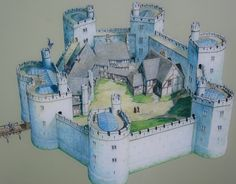 This is an artist's rendering of Bolingbroke Castle as it looked at its height. the size and scale and buildings are PERFECT for a virtual world sim. Medieval World, Medieval Castle, Medieval Fantasy, Fantasy Castle, Fantasy Map, Chateau Fort Jouet, Castle Layout, Wooden Castle, Chateau Medieval