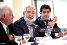 LA Opera chairman Marc I. Stern, Opera singer Placido Domingo and producer Alvaro Domingo attend the Operalia 2014 Press Conference held at the Dorothy Chandler Pavilion on August 26, 2014 in Los Angeles, California.