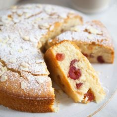 Cherry and Almond Cake. Sweet perfectly moist cherry and almond cake - vegan and gluten free Gluten Free Cakes, Gluten Free Baking, Gluten Free Desserts, Vegan Desserts, Gluten Free Recipes, Vegan Recipes, Gluten Free Vegan Cake, Cherry And Almond Cake, Almond Cakes