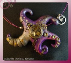 OOAK Steampunk purple starfish necklace by CrumpledFantazies, €35.00