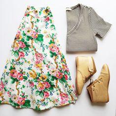 floral skirt + striped vneck
