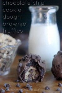 Chocolate Chip Cookie Dough Brownie Truffles. My newest favorite addiction!
