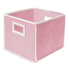 Folding Lightweight Fabric Covered Storage Basket Cube Pink Gingham Set Of 2 NEW 46605198407 Wooden Storage Bins, Cube Storage, Storage Baskets, Storage Organization, Storage Containers, Organizing, Square Baskets, Baby Sheets, Diaper Caddy
