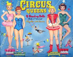 circus paper dolls | Circus Queens Paper Doll Set | Paper Made