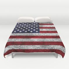 USA Grunge Flag Duvet Cover - $99.00  #DuvetCover #Bedding #HomeDecor #Flag #USA #America #Starts #Stripes #RedWhiteBlue #Grunge