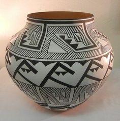 Acoma Large Thin Walled Geometric Design Pottery Olla by David Antonio | eBay