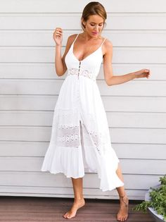 a954f2c91c3 Lacy Split-joint Spaghetti-neck Maxi Dress. White Maxi DressesBeach DressesWhite  DressSexy DressesSummer DressesCasual ...