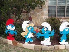 Smurf Yard Art