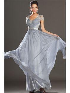 ファッションVネックレースジッパーアップのAラインイブニングドレス 床長