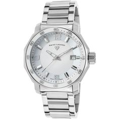 Swiss Legend Blue Geneve Stainless Steel White and MOP Dial (230 CAD) ❤ liked on Polyvore featuring jewelry, watches, two-tone watches, white watches, rose bracelet, logo watches and rose crown