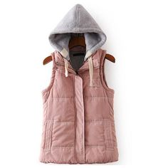 Women Contrast Hooded Zipper Pink Vest ($25) ❤ liked on Polyvore featuring outerwear, vests, pink, hooded vest, red waistcoat, vest waistcoat, red vest and pink vest