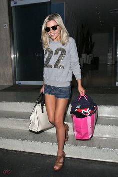 Mollie King Sexy Casual  Look...Sport Outfit + Wedges