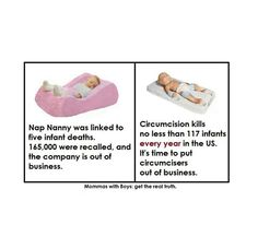 Why are products created for infants recalled after 1-5 deaths, but the outdated, unnecessary and inhumane surgery that kills 117 baby boys each year is legal? Question circumcision.