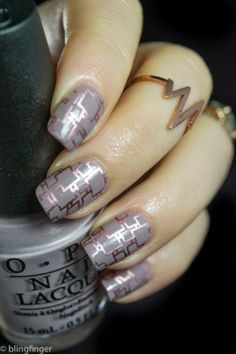 OPI Taupe-less Beach with rose gold stamping. http://www.blingfinger.net/2014/05/opi-taupe-less-beach-with-rose-gold.html
