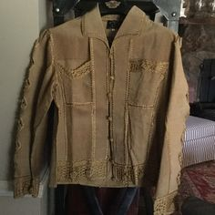Brand new with tags Suede Leather jacket NWT YingYing Nevada suede jacket in tan with silk stitching. Gorgeous stylish jacket! YingYing Nevada Jackets & Coats