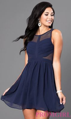 Image of short sleeveless homecoming dress with sheer back. Front Image