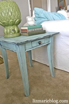 homemade chalk paint for furniture. I'm doing this to my dresser and nightstand...just different color!