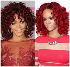 capelli rossi ricci rihanna acconciatura