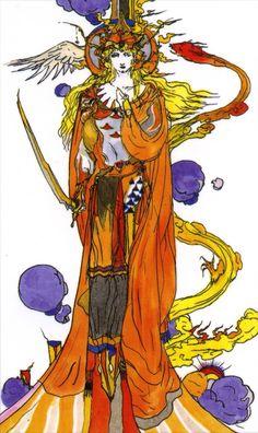 天野喜孝 タロットカード 小アルカナ・剣のクイーン / Yoshitaka Amano Tarot Cards Minor Arcana, QUEEN of SWORDS