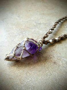 Macrame necklace with  Amethyst gemstone.