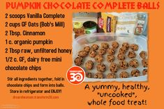 Pumpkin Chocolate Complete Balls; gluten free, dairy, free, animal free (does include honey from a local bee hive).