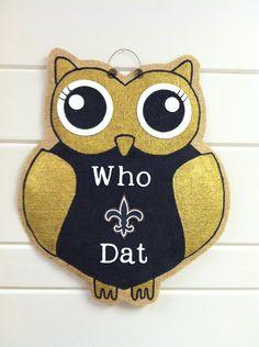 Burlap Door Hanger  Who Dat Owl by BurlapandStuff on Etsy
