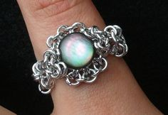 Iridescent Glass Cabochon Ring with Chainmaille Setting