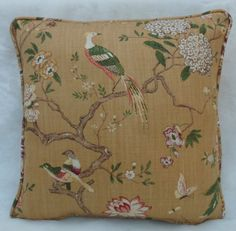 GP  J Baker Fabric, Oriental Bird ~ Cushion Cover, Gold Linen~Chinoiserie | eBay